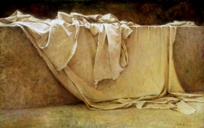 Shroud and head cloth lying discarded in the tomb of Jesus on the first Easter morning